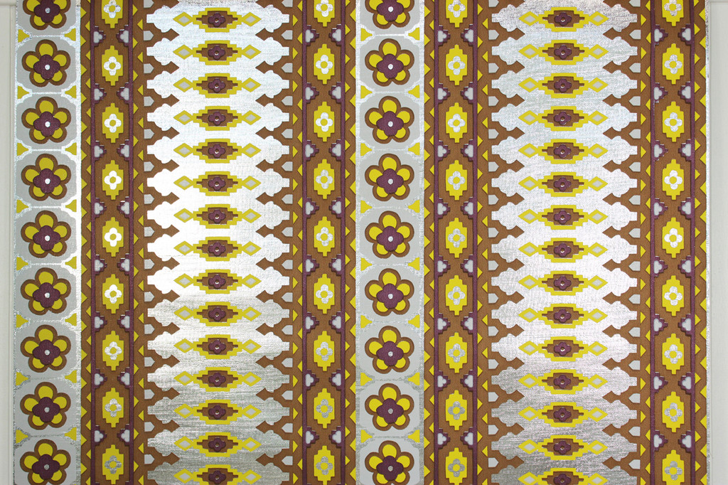 1970s Vintage Wallpaper Mylar Yellow and Purple