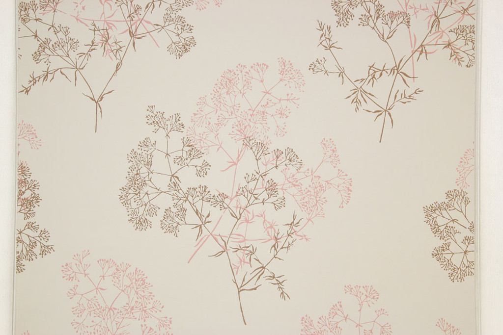 1960s Vintage Wallpaper Pink Brown Flowers On Beige Rosies