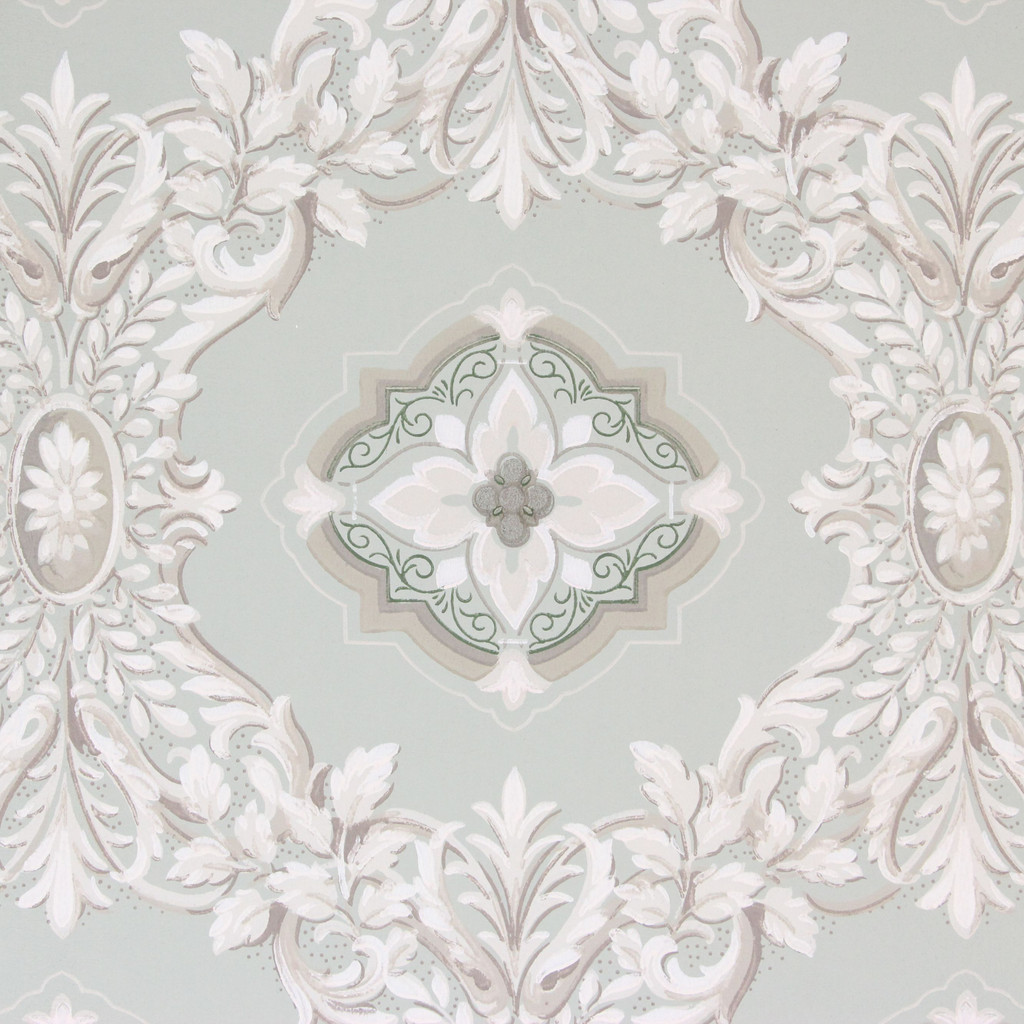 1950s Vintage Wallpaper Green and White Geometric