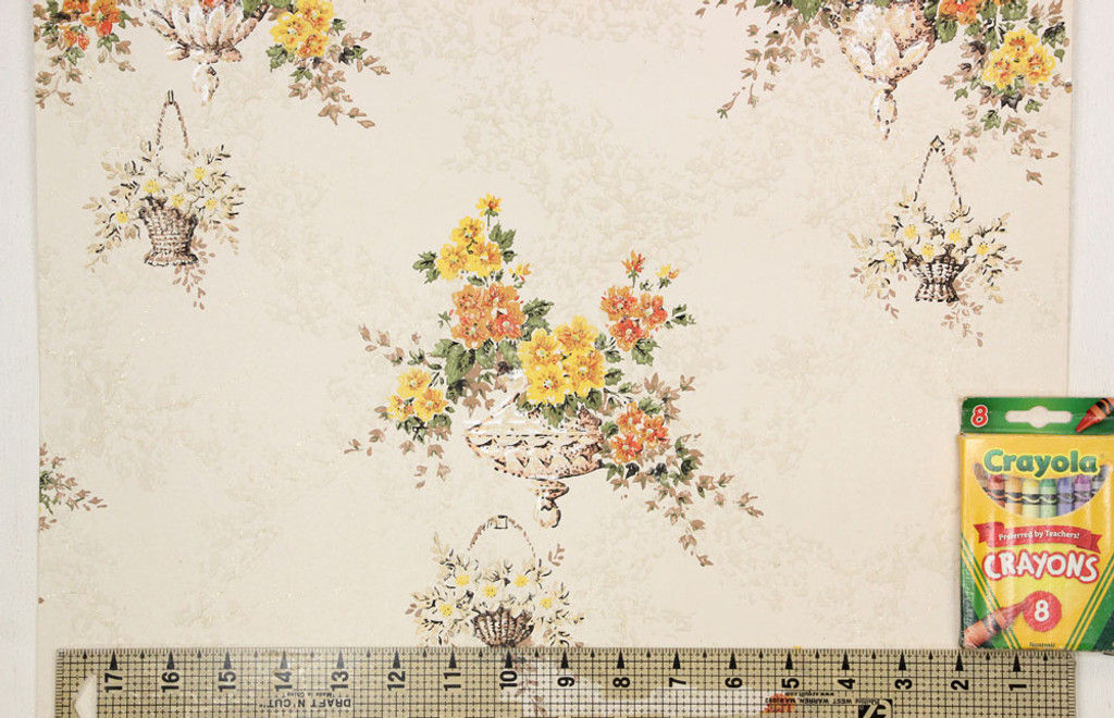 1960s Vintage Wallpaper Orange Yellow Hanging Baskets