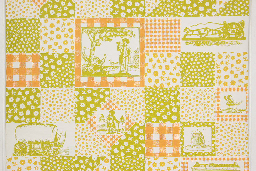1970s Retro Vintage Wallpaper Orange Green Scenic Geometric