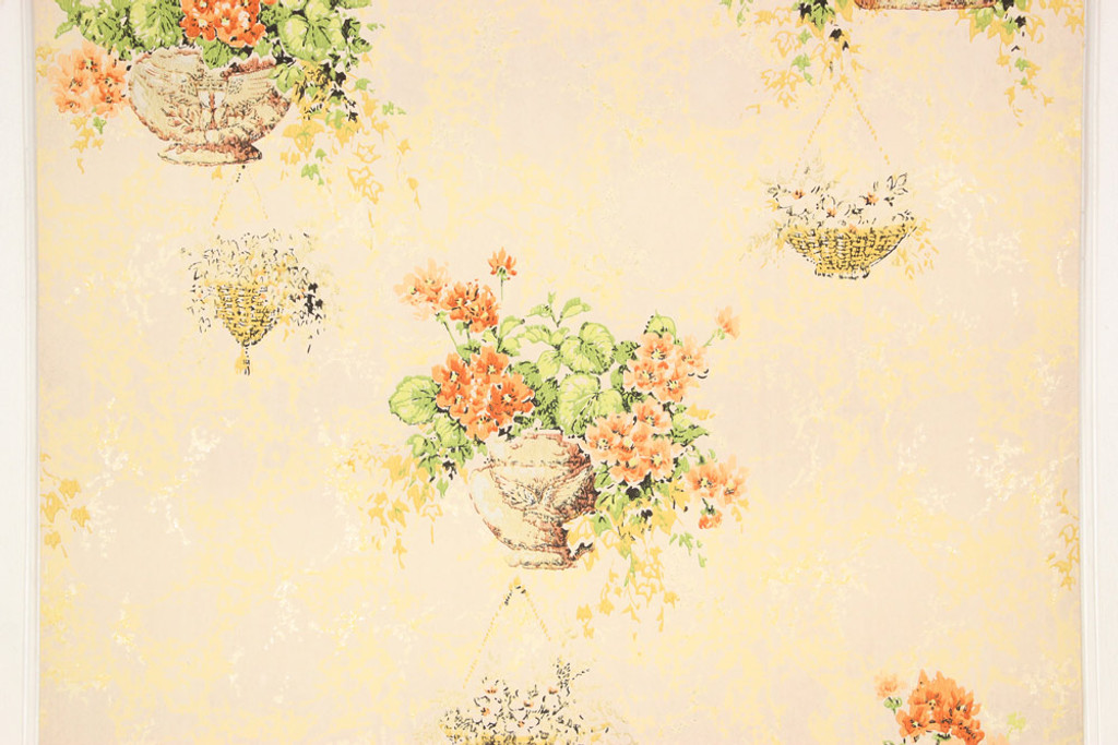 1970s Vintage Wallpaper Orange Flower Baskets