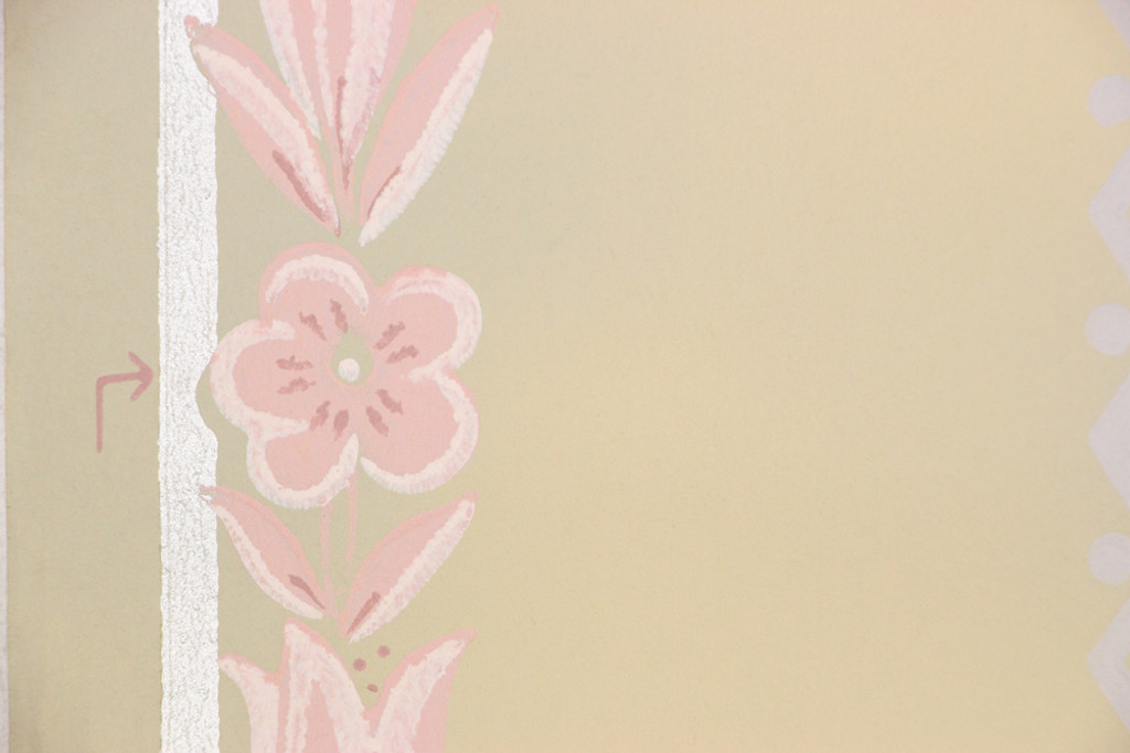 1940s Vintage Wallpaper Pink Flowers Yellow Blue Stripe
