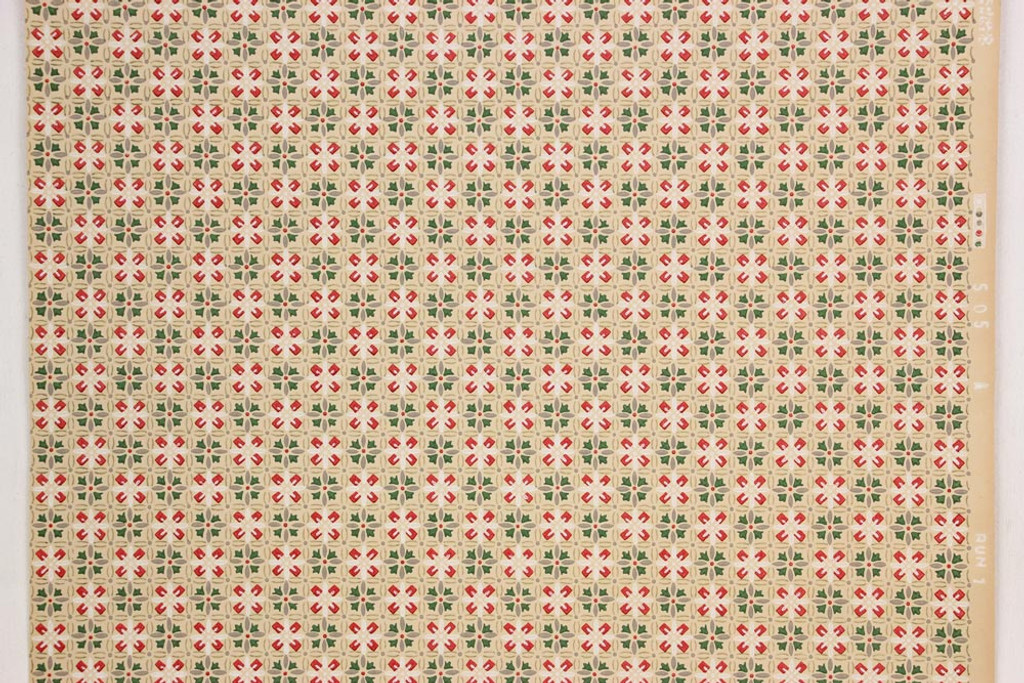 1930s Vintage Wallpaper Red Green Geometric