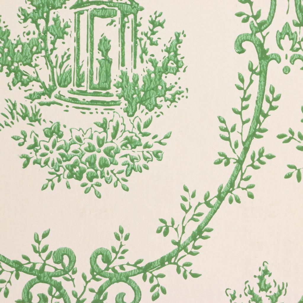 1960s Vintage Wallpaper Green Damask Gazebo