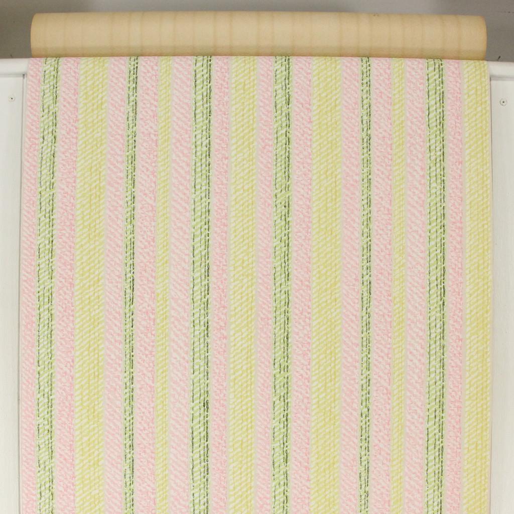 1960s Vintage Wallpaper Pink Green Stripe