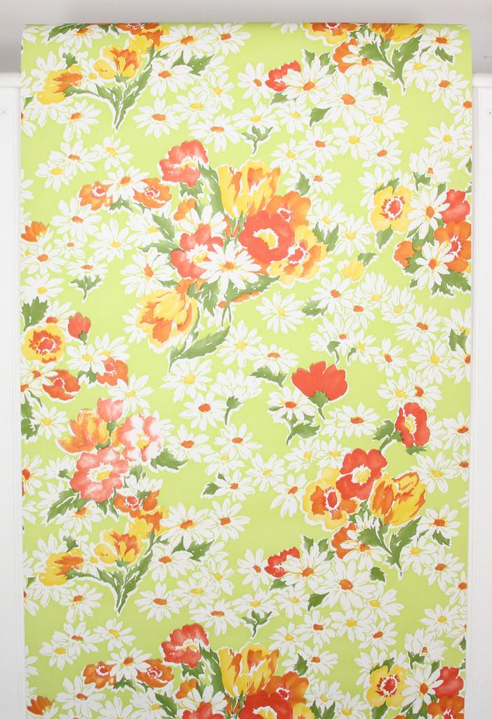 1970s Retro Vintage Wallpaper Red Flowers Daisies on Bright Green Vinyl