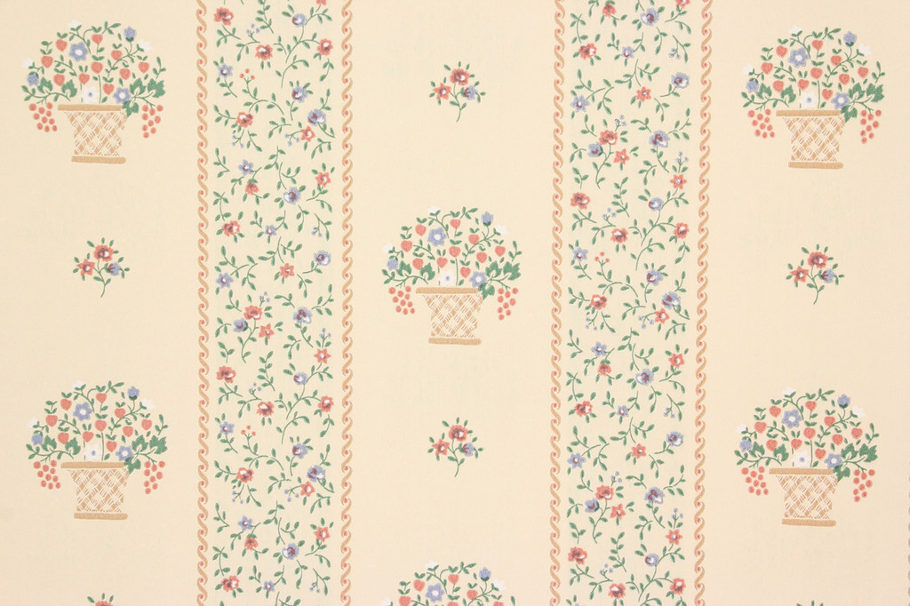 1980s Retro Vintage Wallpaper Flower Baskets Stripe