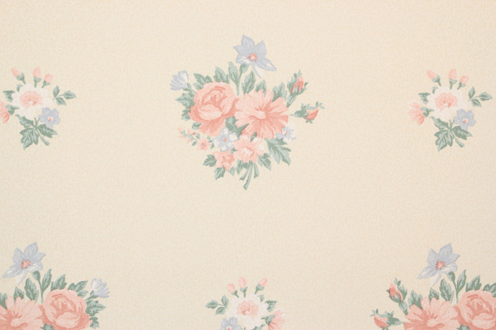 1980s Retro Vintage Wallpaper Pink Blue Bouquets