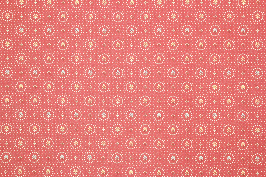 1980s Retro Vintage Wallpaper Pastel Flowers on Red