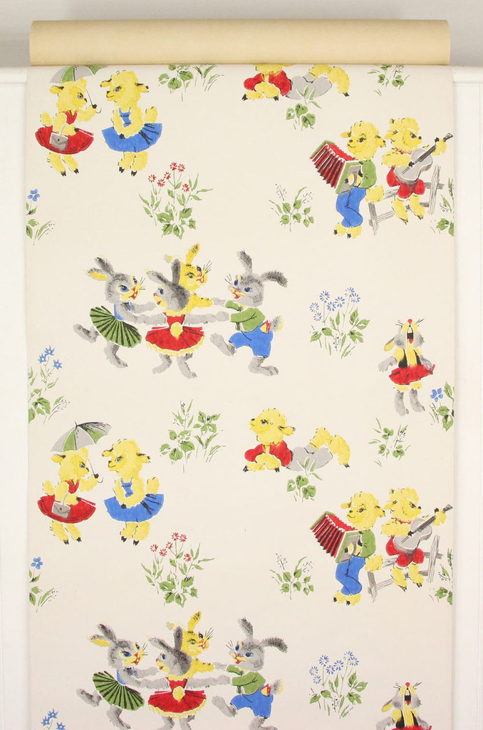 1960s Vintage Wallpaper Bunnies and Lambs