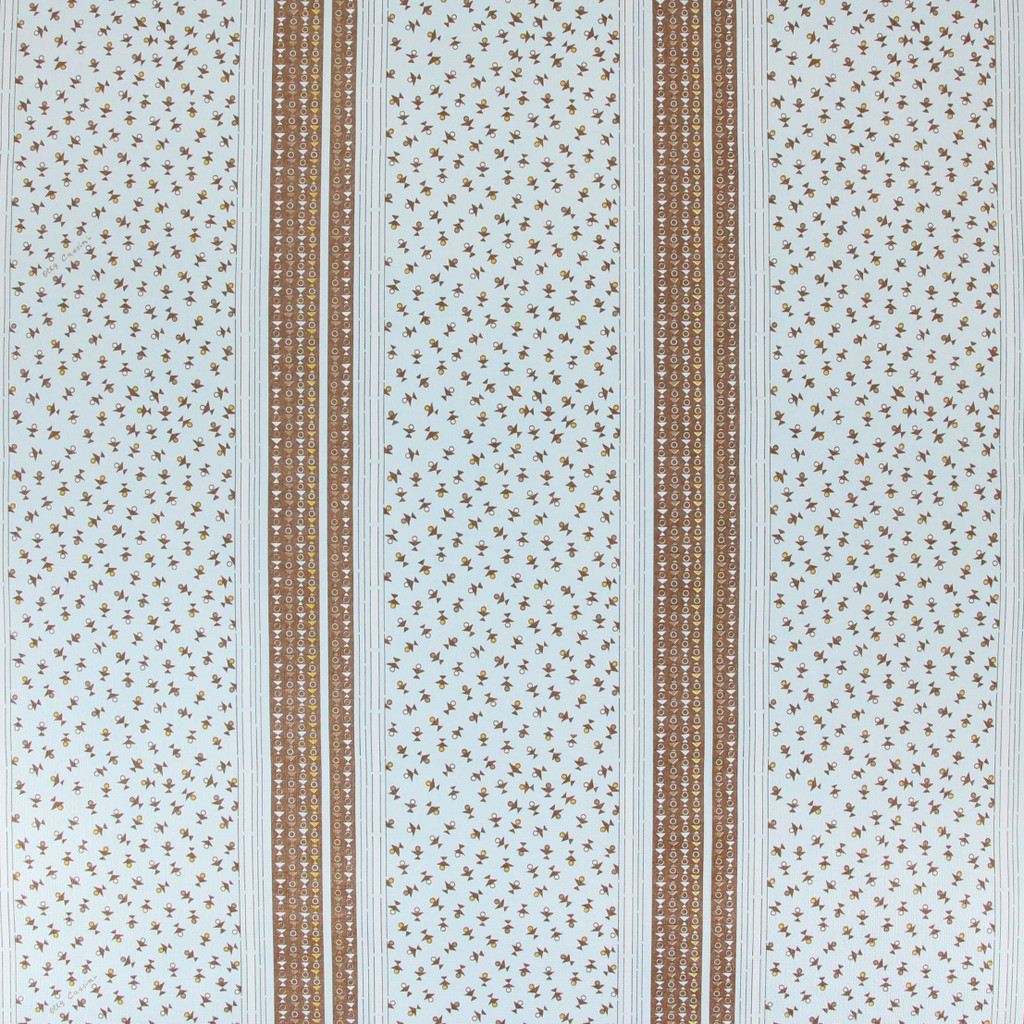 1970s Retro Vintage Wallpaper Oleg Cassini Blue with Brown Stripe