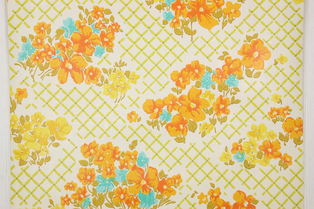 1970s vintage wallpaper orange aqua flowers