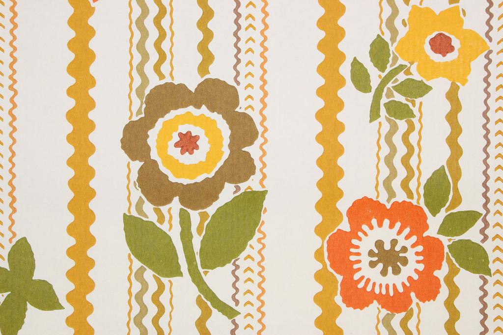 1970s Retro Vintage Wallpaper Rick Rack Brown Flowers