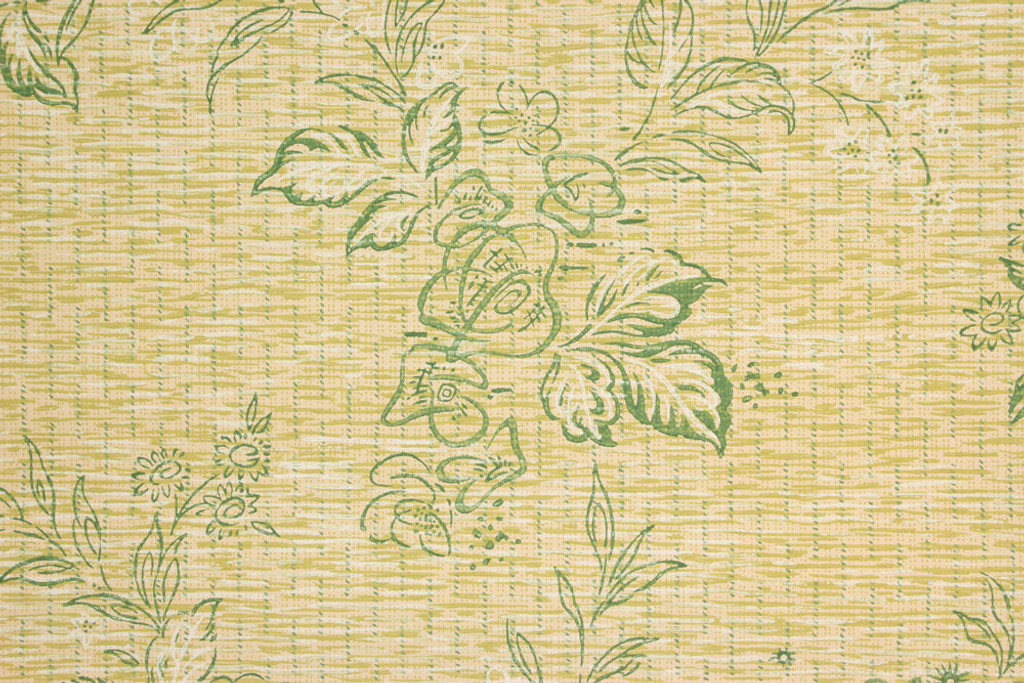 1930s Vintage Wallpaper Green Flowers on Faux Grasscloth