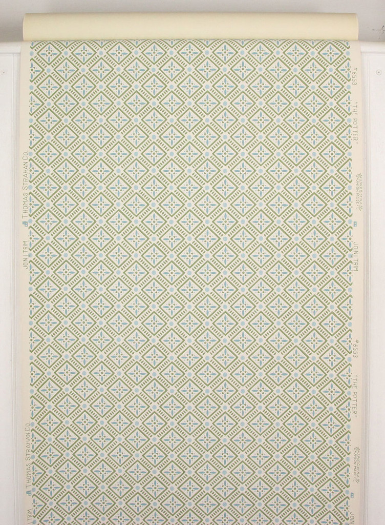 1950s Vintage Wallpaper Blue Green Geometric