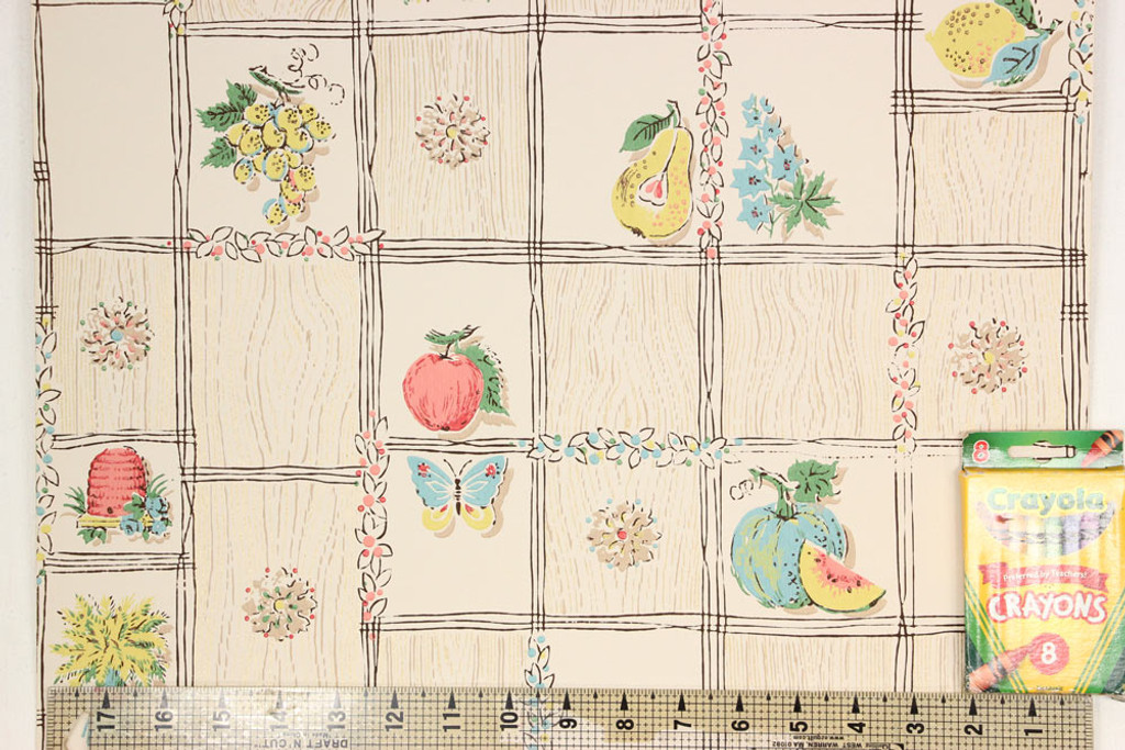 1950s Vintage Wallpaper Fruit Windmill Pink on Wood Grain