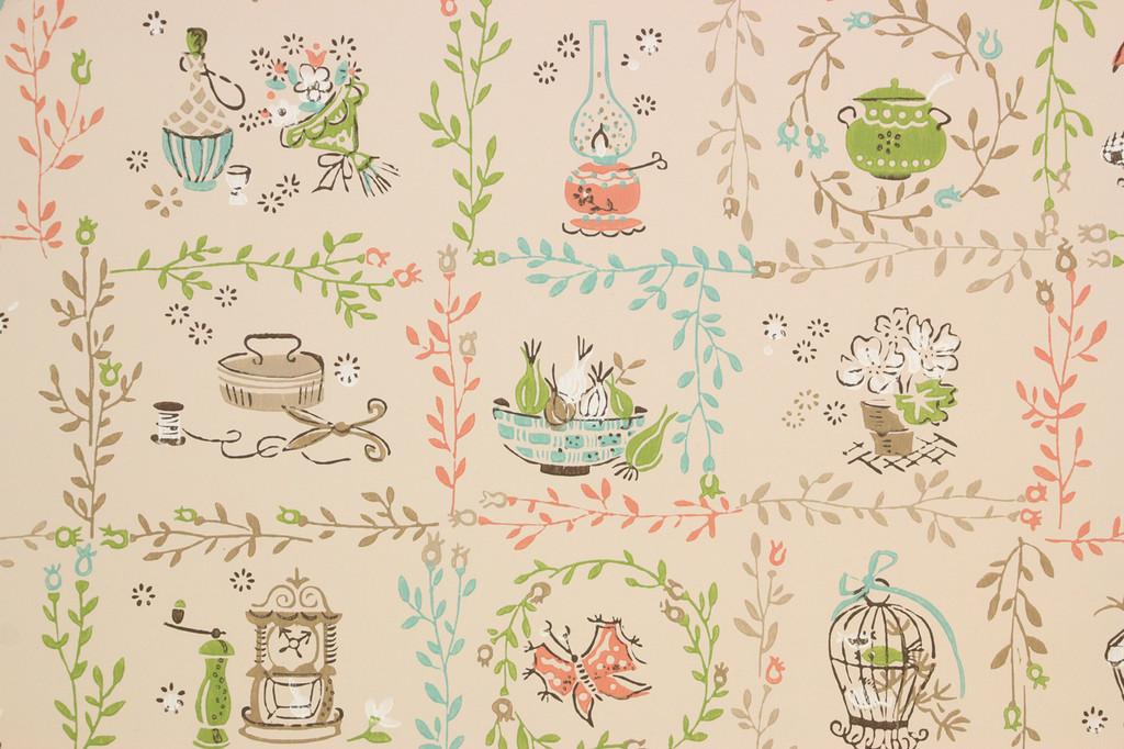 1950s Vintage Wallpaper Folk Art Salmon Aqua Kitchen