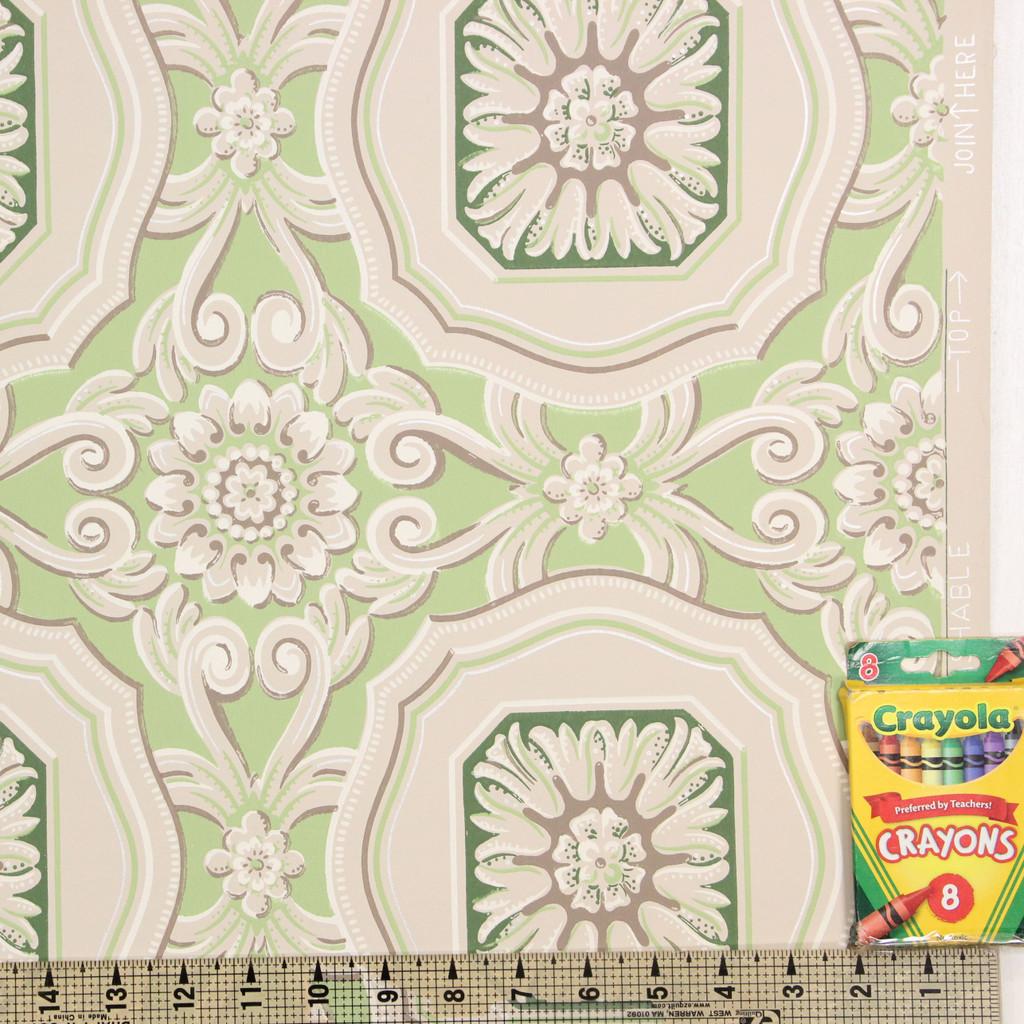 1950s Vintage Wallpaper Green Geometric