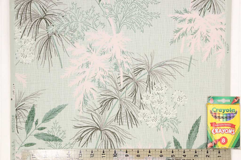 1950s Vintage Wallpaper White Flowers Pink Green Leaves