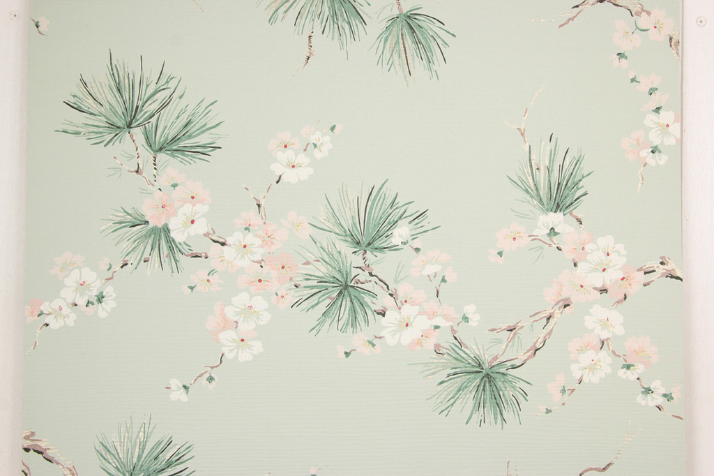 1950s Vintage Wallpaper Pink and White Flowers with Pine Needles
