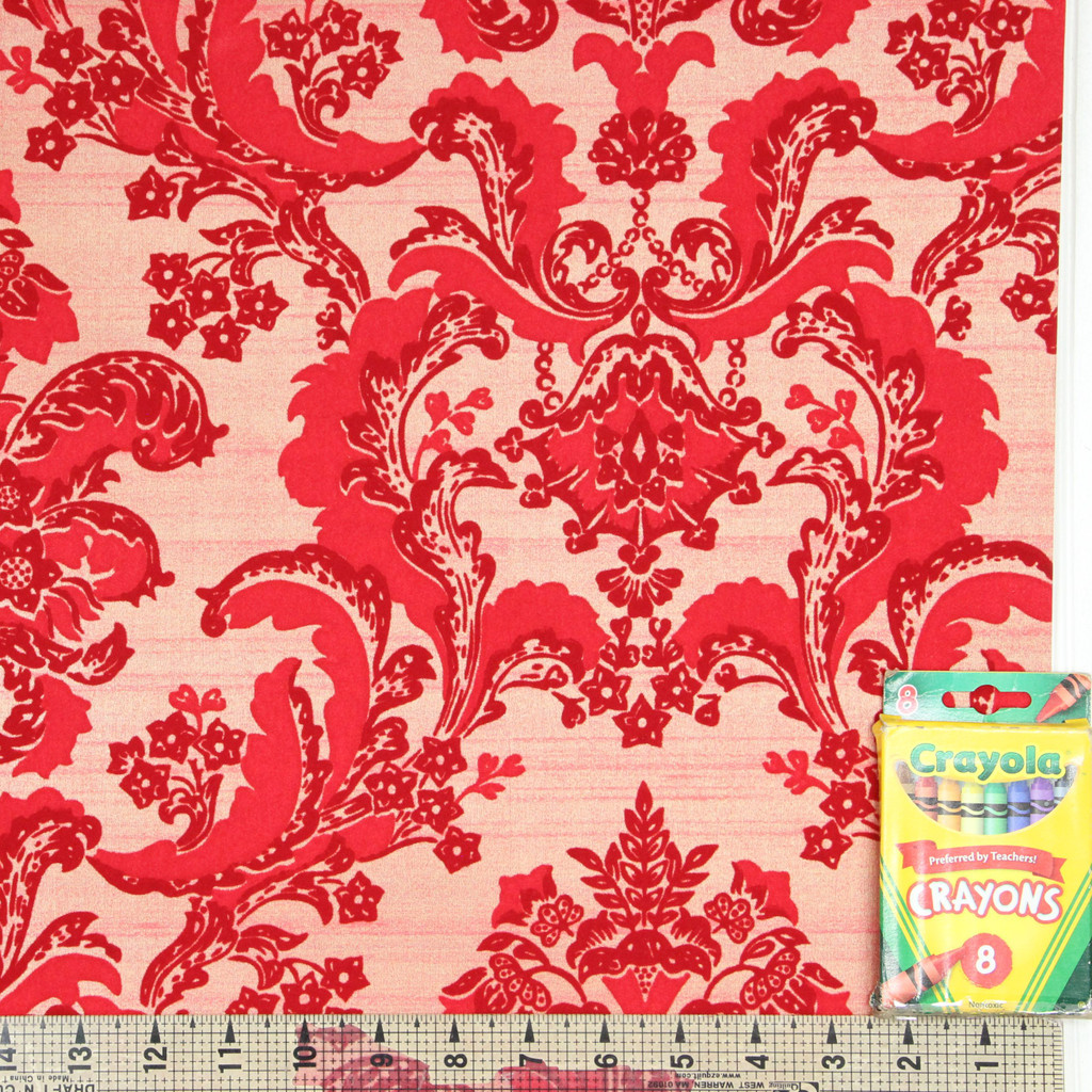 1970s Vintage Wallpaper Retro Red Flock on Red