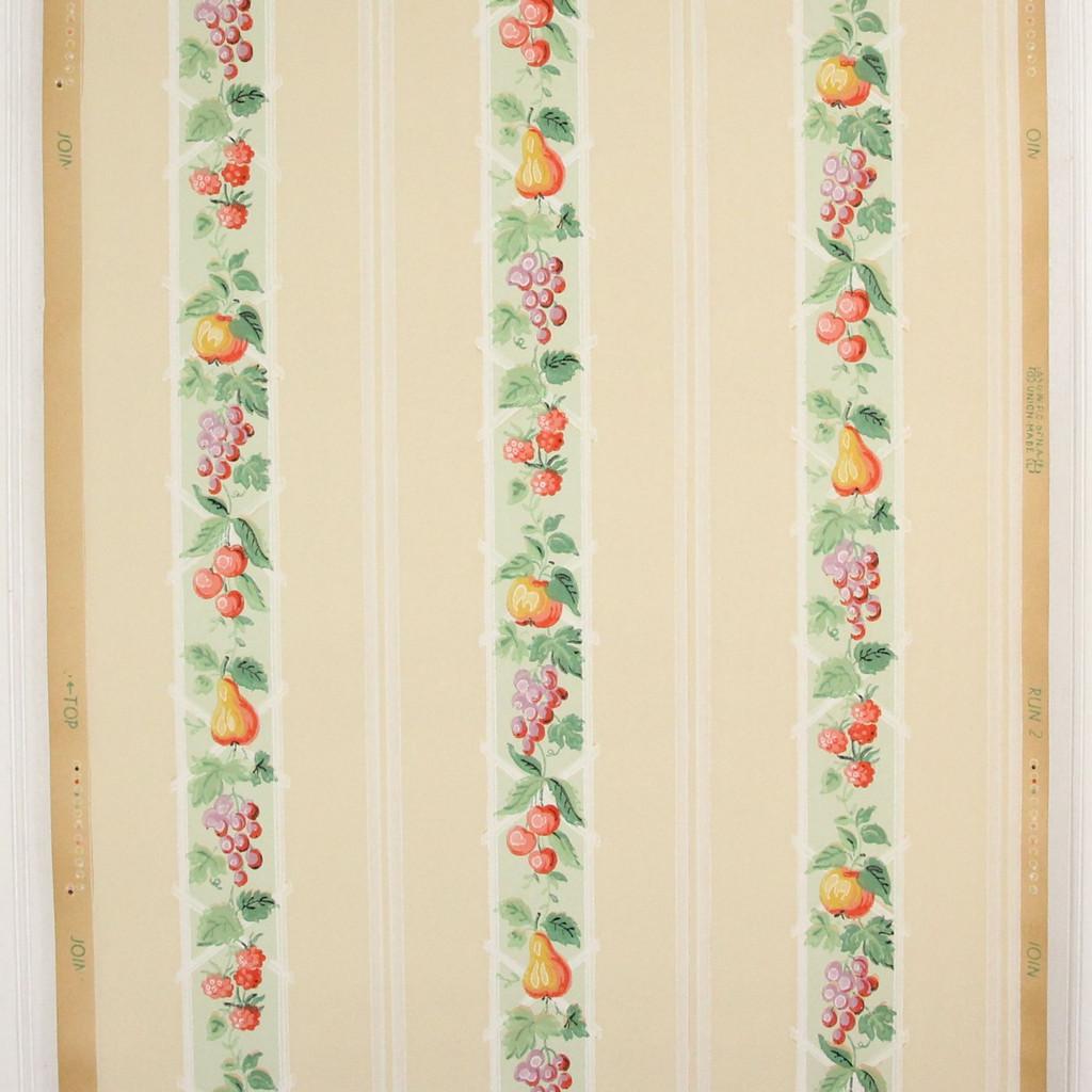 1930s Vintage Wallpaper Fruit Stripe