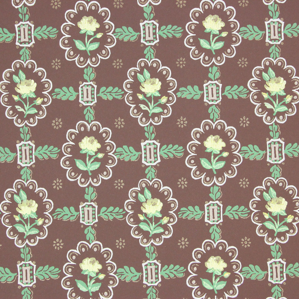 1950s Vintage Wallpaper Yellow Floral Geometric on Brown