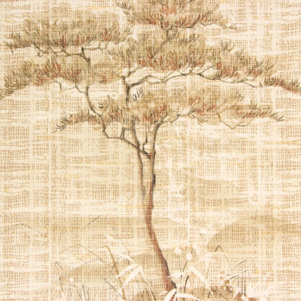 1970s Vintage Wallpaper Trees Flowers Faux Grasscloth