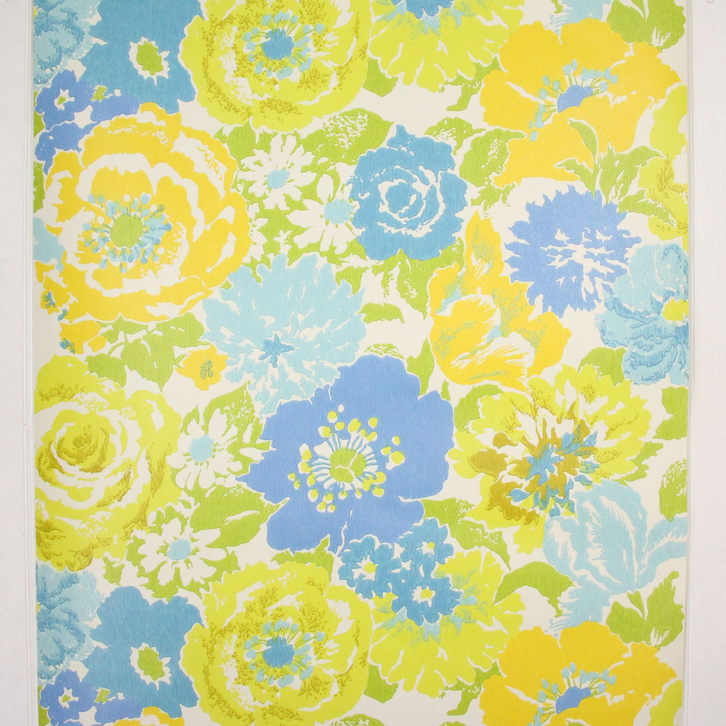 1970s Retro Vintage Wallpaper Blue Yellow Flowers