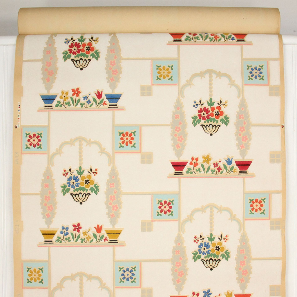 1930s Vintage Wallpaper Window Box Tile