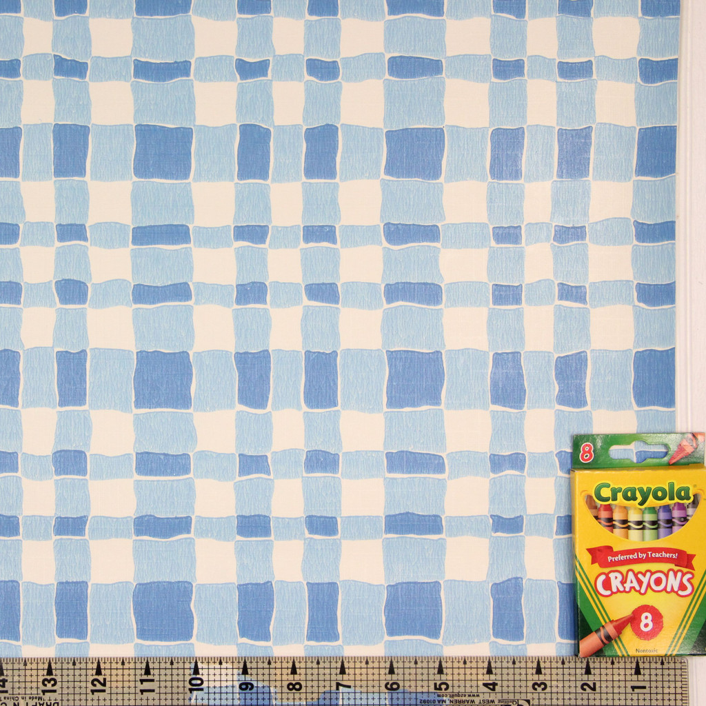 1970s Retro Vintage Wallpaper Blue Plaid