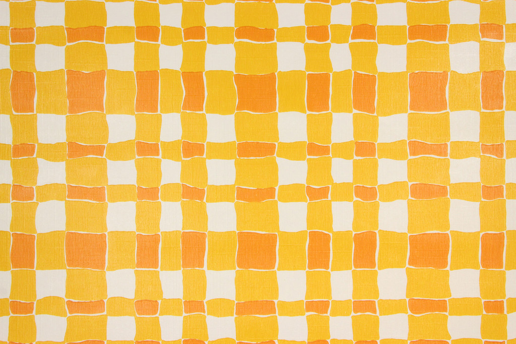1970s Retro Vintage Wallpaper Orange Plaid