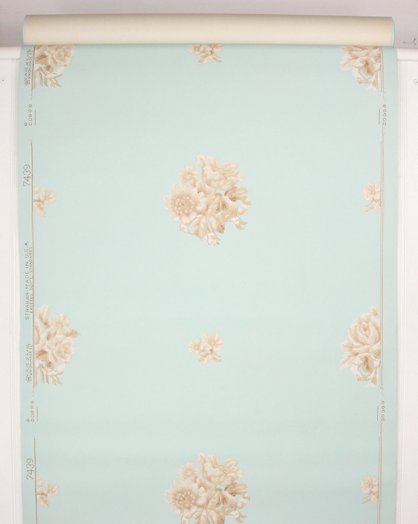 1950s Vintage Wallpaper White Brown Flowers on Blue