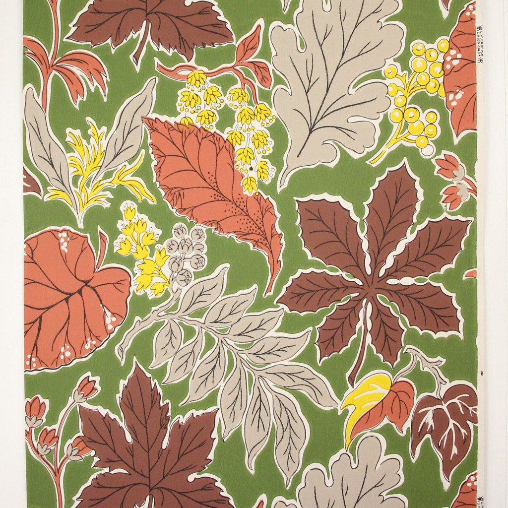 1950s Vintage Wallpaper Yellow Flowers Leaves on Green