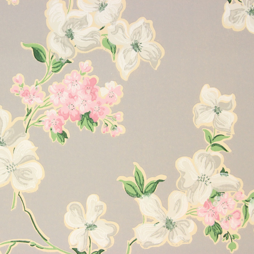 1930s Vintage Wallpaper Pink White Flowers on Gray