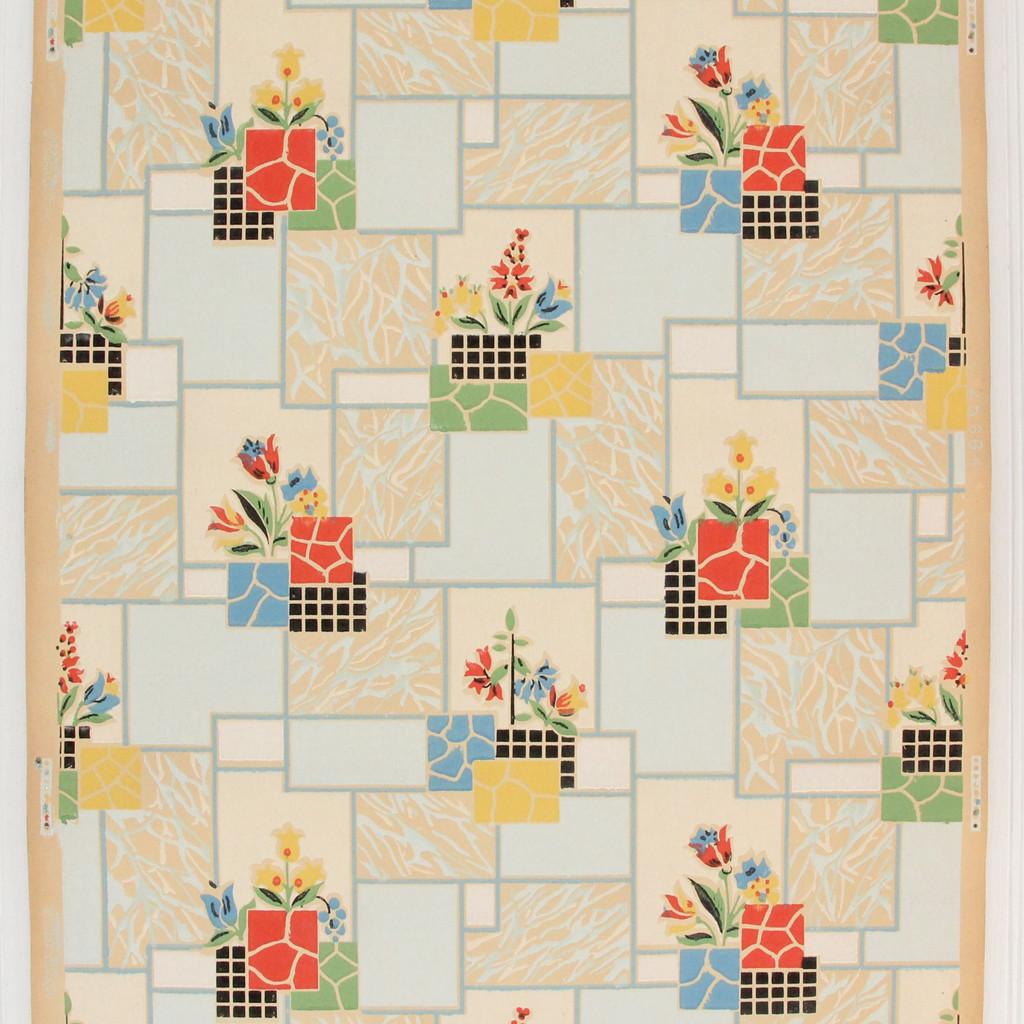 1930s Vintage Wallpaper Red Blue Flowers on Tile