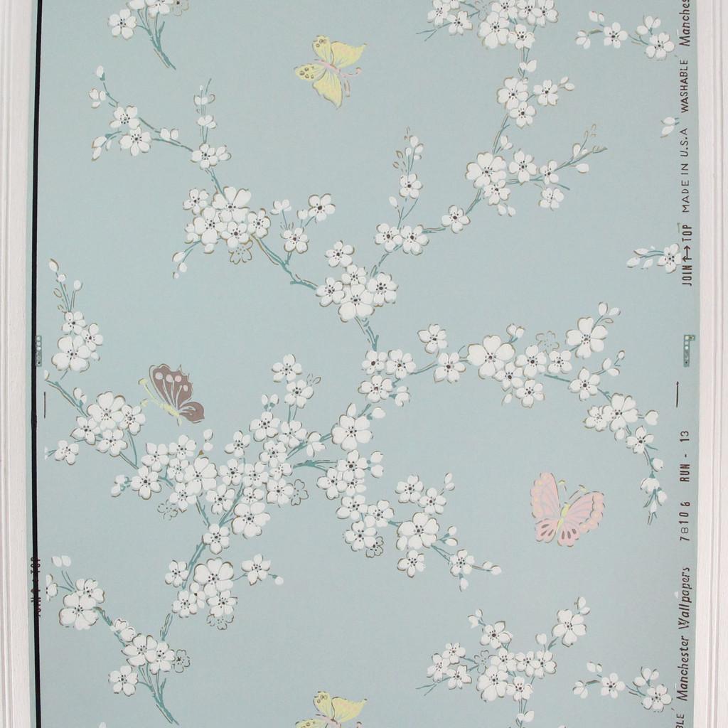 1950s Vintage Wallpaper Butterflies on Blue
