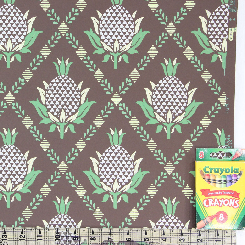 1950s Vintage Wallpaper Pineapples on Brown