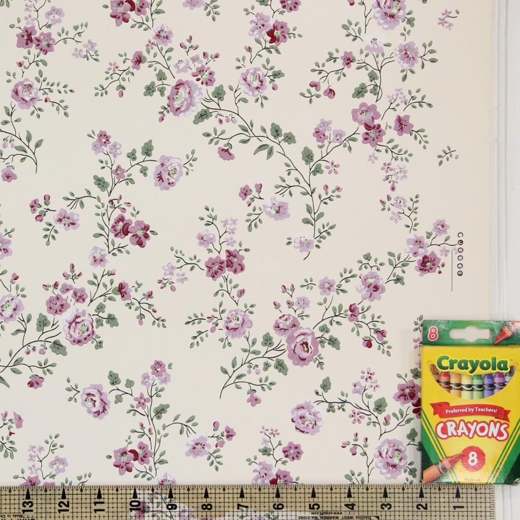 1950s Vintage Wallpaper Thomas Strahan Purple Flowers