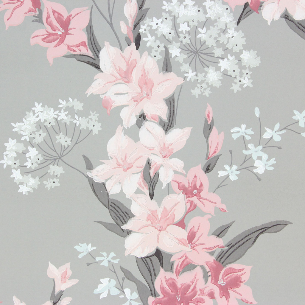 1940s Vintage Wallpaper Pink Flowers on Gray