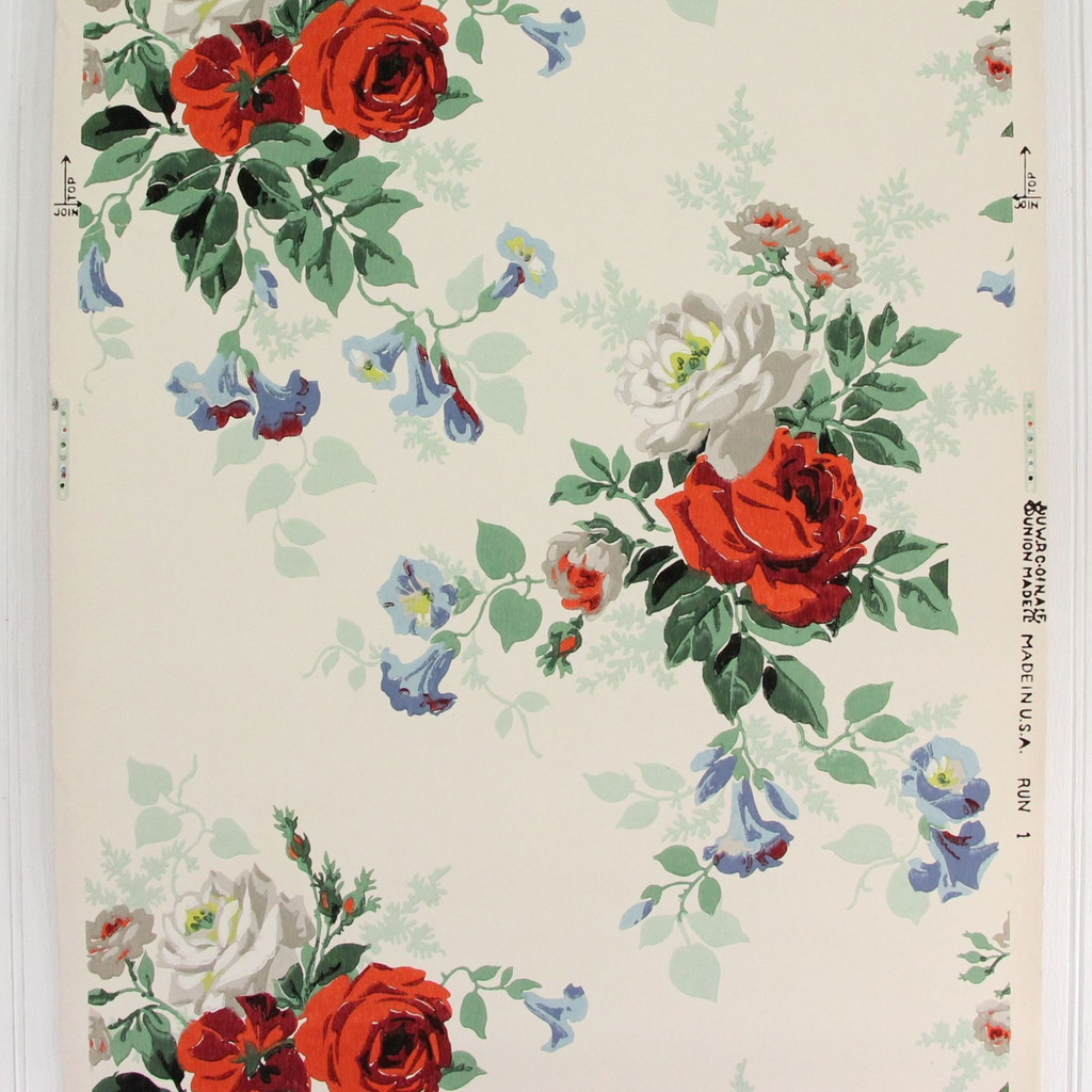 1940s Vintage Wallpaper Red White Roses