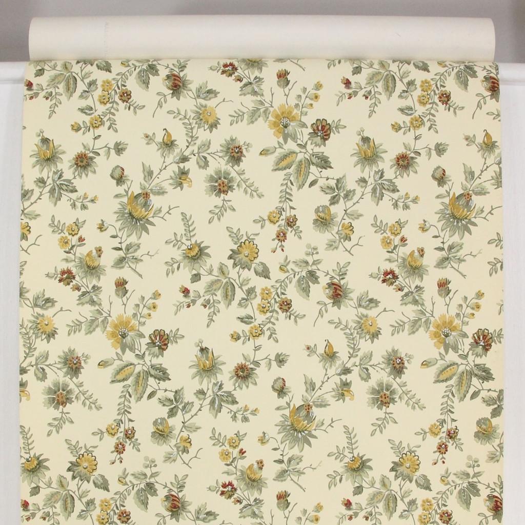 1950s Vintage Wallpaper Thomas Strahan Yellow Flowers