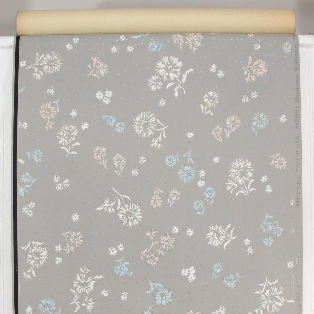1940s Vintage Wallpaper White Blue Flowers on Gray