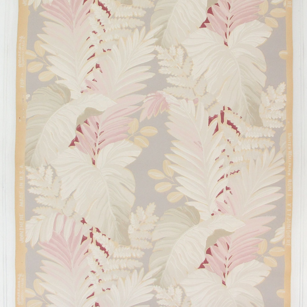 1930s Vintage Wallpaper Red White Leaves on Gray