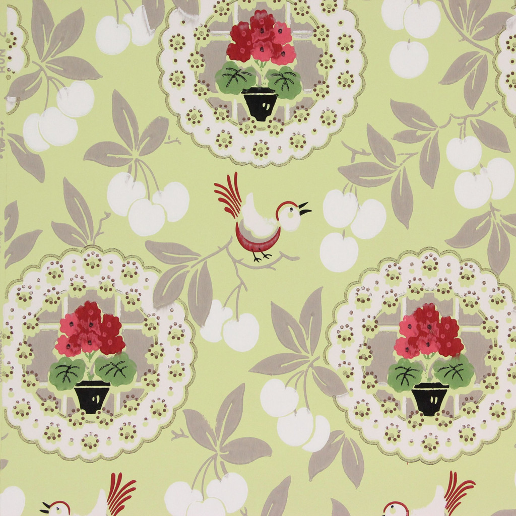 1940s Vintage Wallpaper Geraniums on Yellow