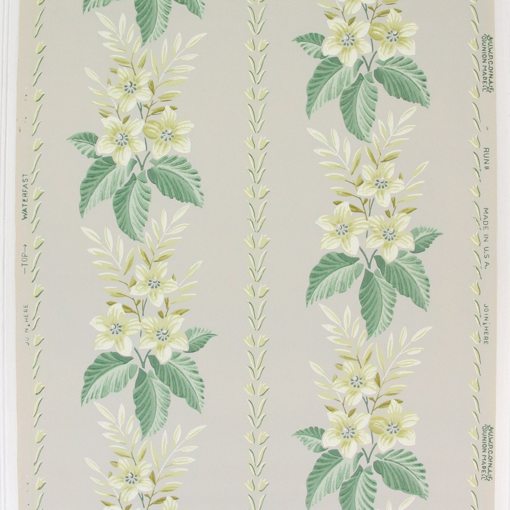 1940s Vintage Wallpaper Yellow Flowers on Gray