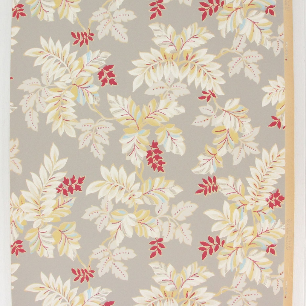 1930s Vintage Wallpaper White Red Leaves on Gray