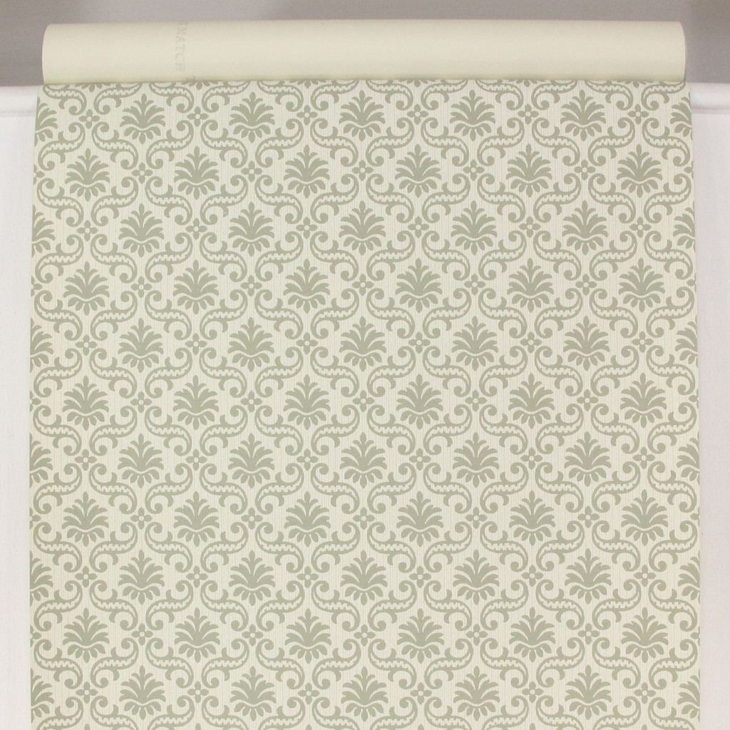 1950s Vintage Wallpaper Thomas Strahan Gray Green Damask