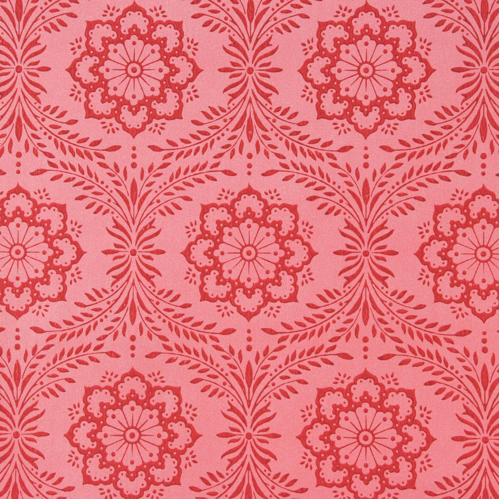 1950s Vintage Wallpaper Thomas Strahan Red Floral Geometric
